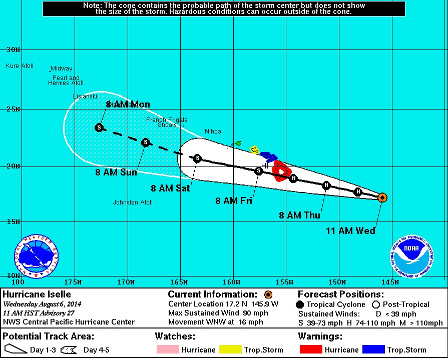 hurricane-iselle-track Hurricane Iselle:  Near Miss or Direct Hit to Hawaii UPDATED!
