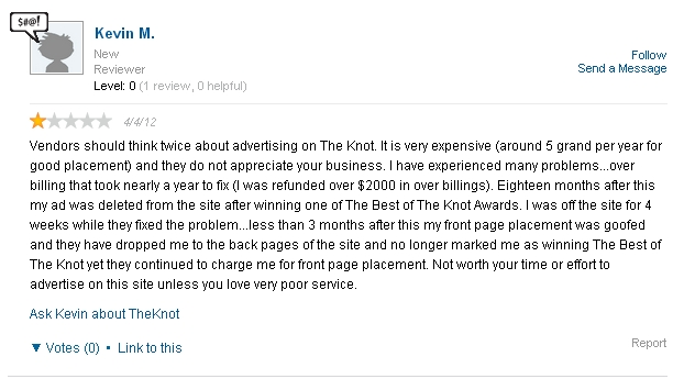 "review-2 THE KNOT SCAM:  Don't buy into their ""advertising opportunities"""