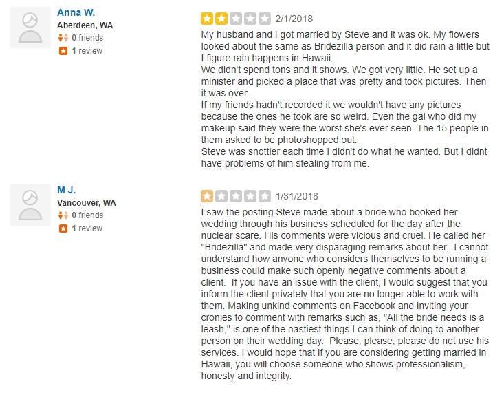 fake-reviews BRIDEZILLA! Nightmare Hawaii Wedding Client ~ Please Read